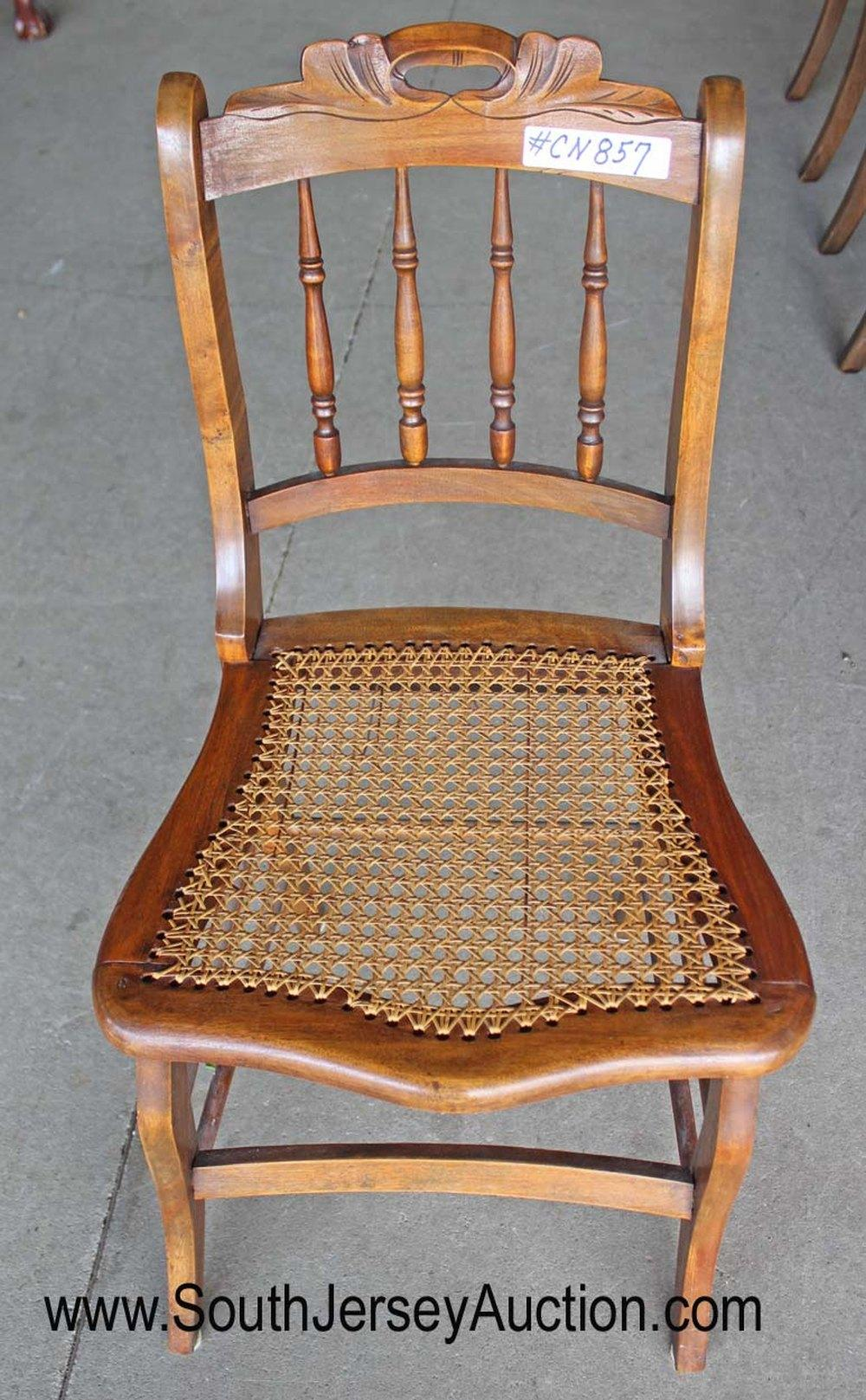Antique Victorian carved cane bottom chair