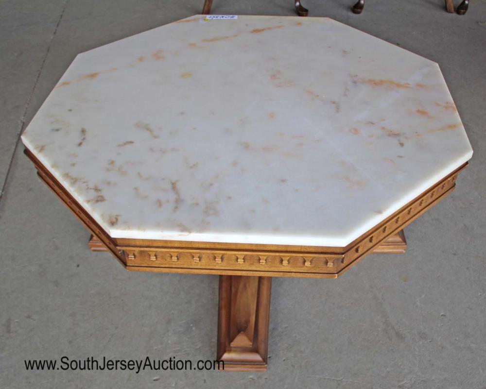 Vintage Mid Century style marble top octagon coffee table in the walnut