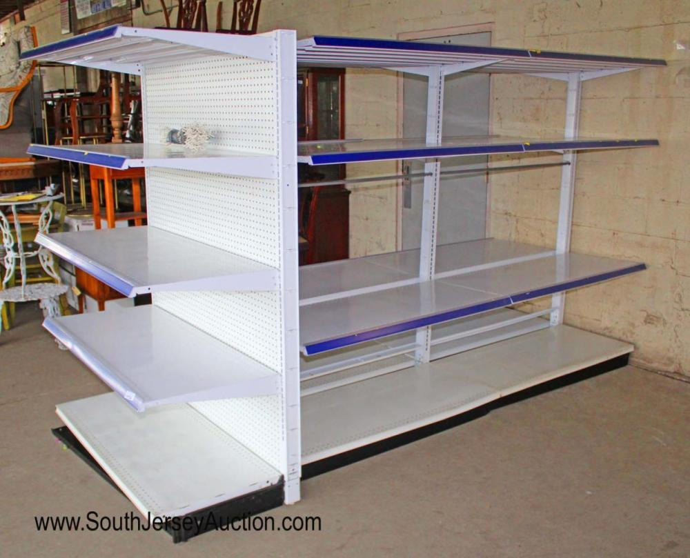 3 Section commercial shelving unit with peg board backing