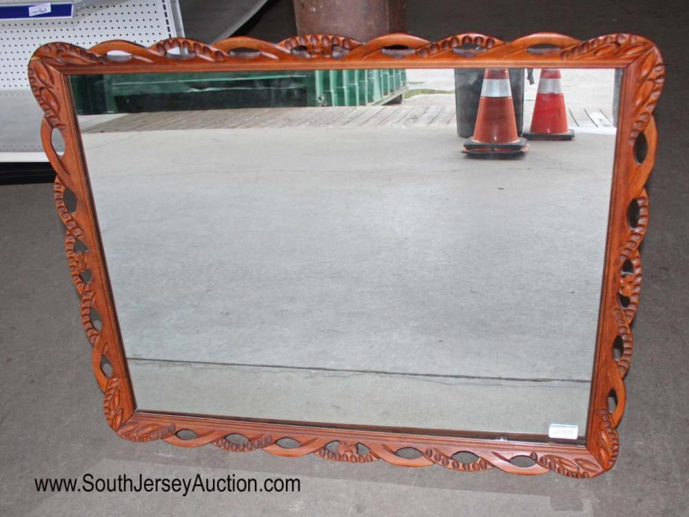 Carved mahogany frame vintage mirror