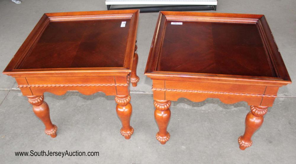 Pair of burl Mahogany carved leg living room tables