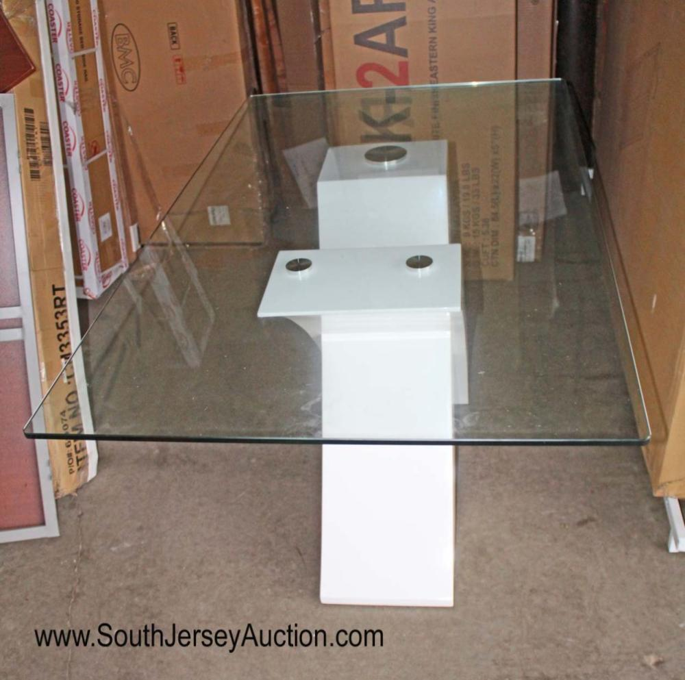 New ultra modern glass top breakfast table - glass good bottom of base has some issues