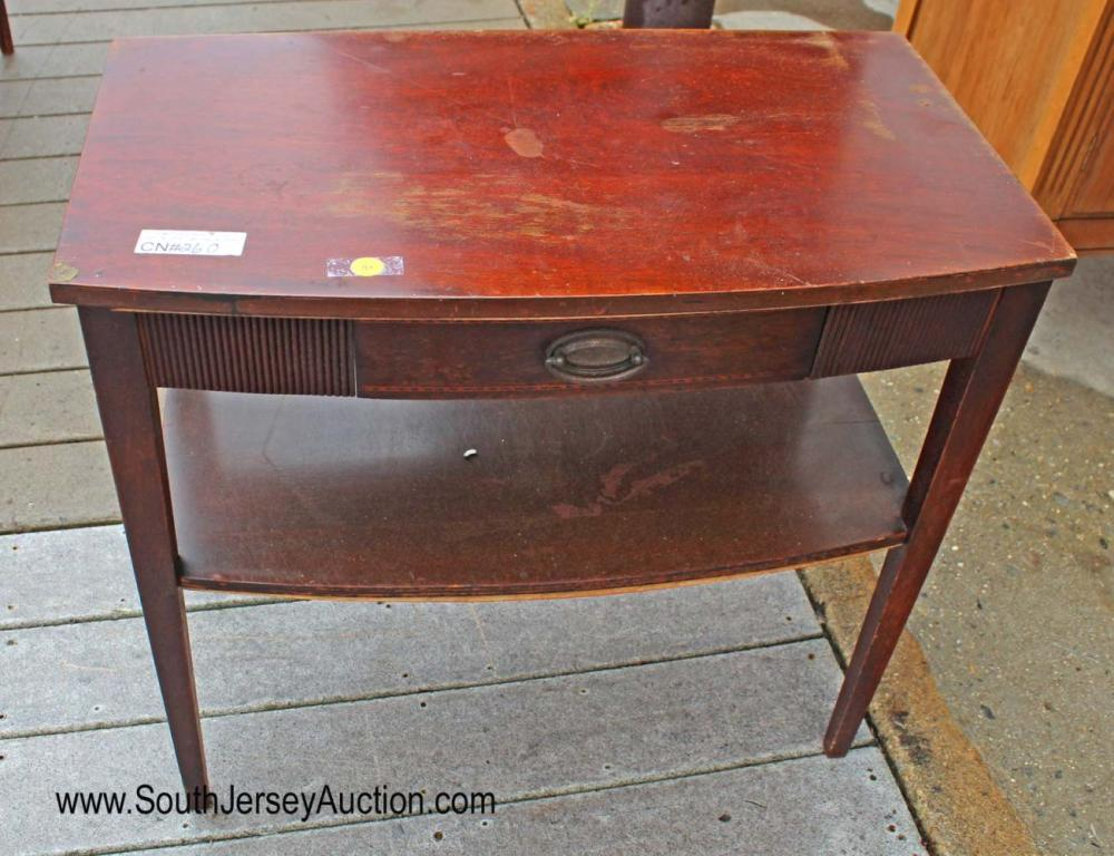Mahogany One Drawer End Table by Mersman Furniture has incurred recent weather damage - please view detailed updated photos - please change or update your bidding accordingly