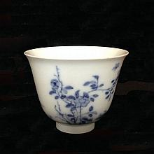 A Finely Painted Blue and White Cup Kangxi mark