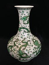 A Green-Glazed 'Dragon'€™ Bottle Vase 18/19th Century