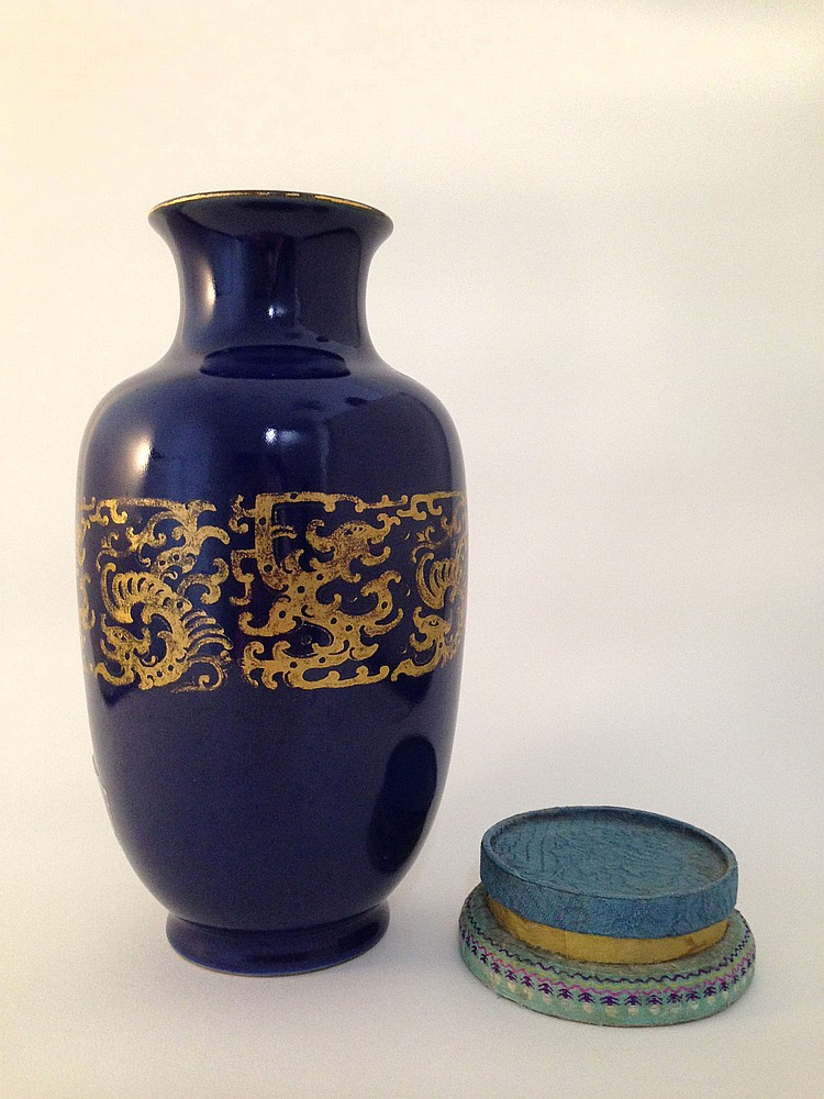 A Fine and Rare Blue and Gilt Decorated Vase