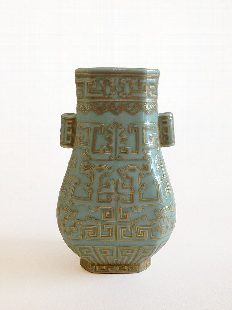 A Fine Celdon-Glazed and Gilt Decorated Vase Qianlong mark of the period