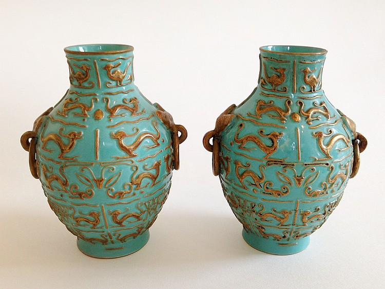 A Pair of Green and Gilt Decorated Vases Qianlong mark 19/20th Century