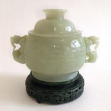 A White Jade Censer and Cover 19/20th Century