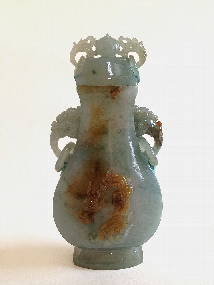 A Jadeite Vase with Cover 19/20th Century