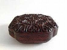 A Huang Hua Li Square Box Carved with Ruyi 19th Century