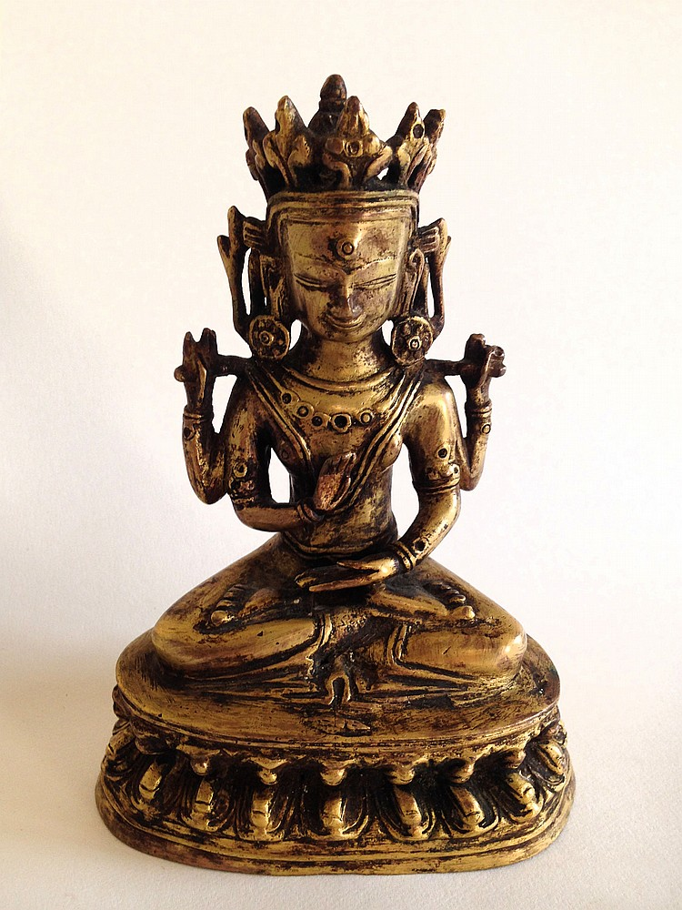 A Gilt-Bronze Guan Yin 14th Century