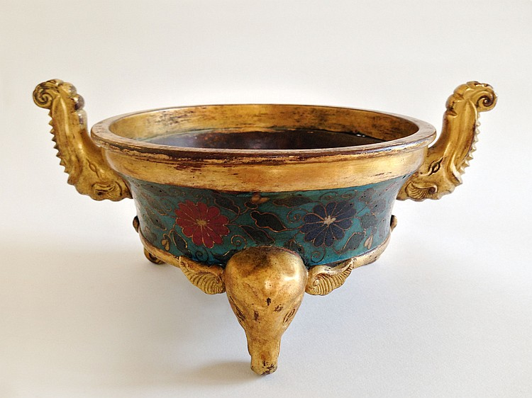 A Rare Imperial Cloisonné Enamel and Gilt-Bronze Censer Jing Tai Nian Zhi Ming Dynasty
