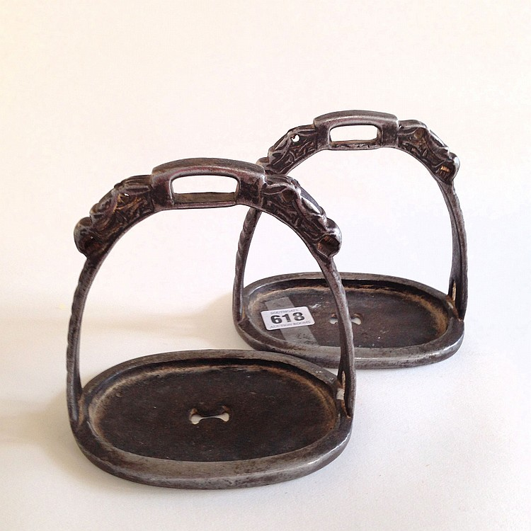 A Pair of Iron Stirrups Qing Dynasty