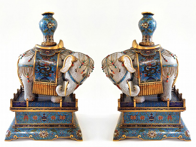 A Pair of Large Cloisonne Enamel Caparisoned Elephants Qing Dynasty Qianlong mark of the period