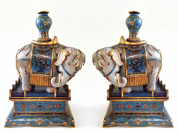 A Pair of Large Cloisonne Enamel Caparisoned Elephants Qing Dynasty Qianlong mark of the period