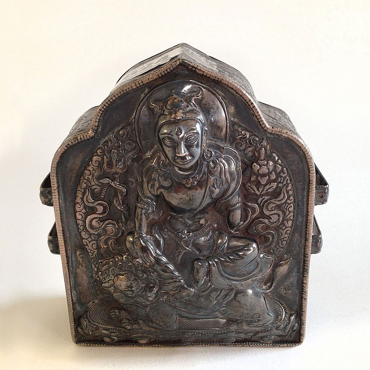 A Silver Box Carved with Buddha 19th Century