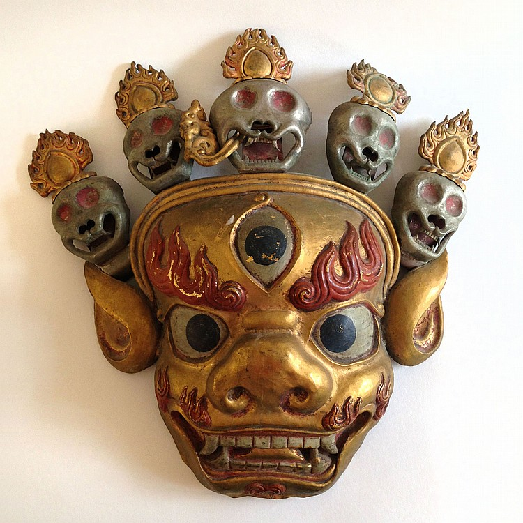 A Tibetan Copper Gilt Mask Qing Dynasty