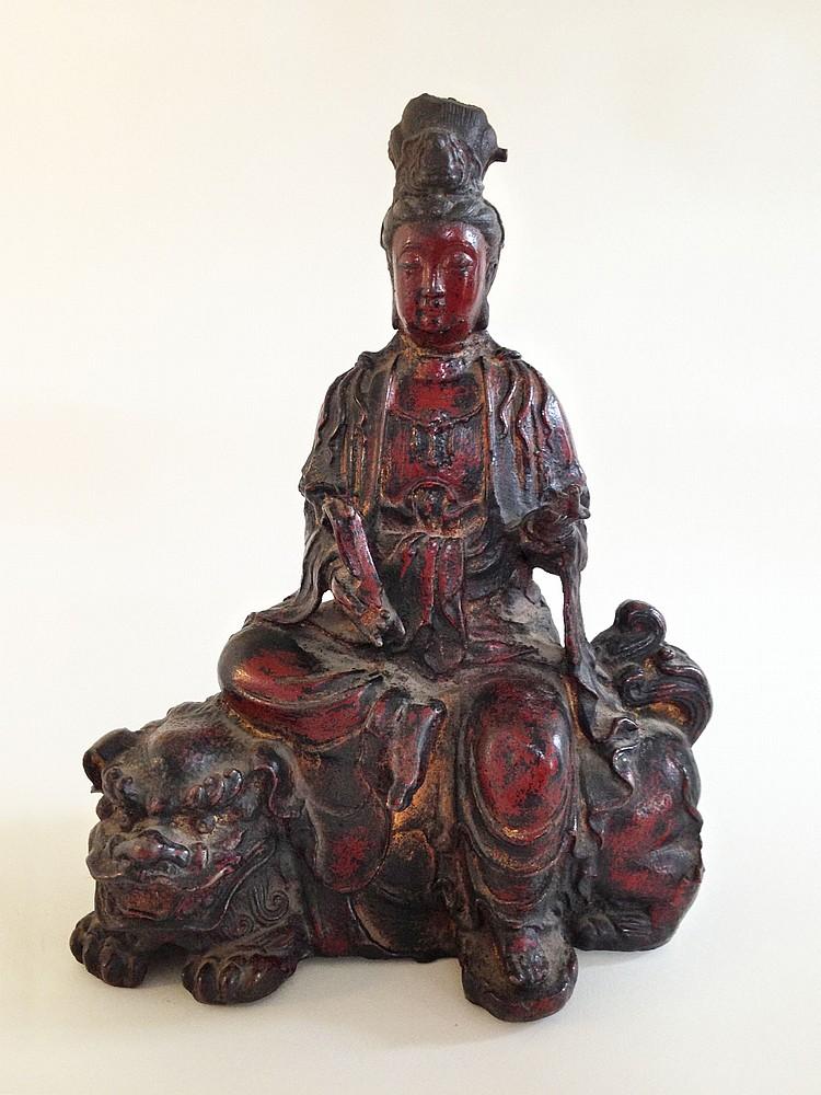 A Gilt Bronze of Wenshupusa Ming Dynasty