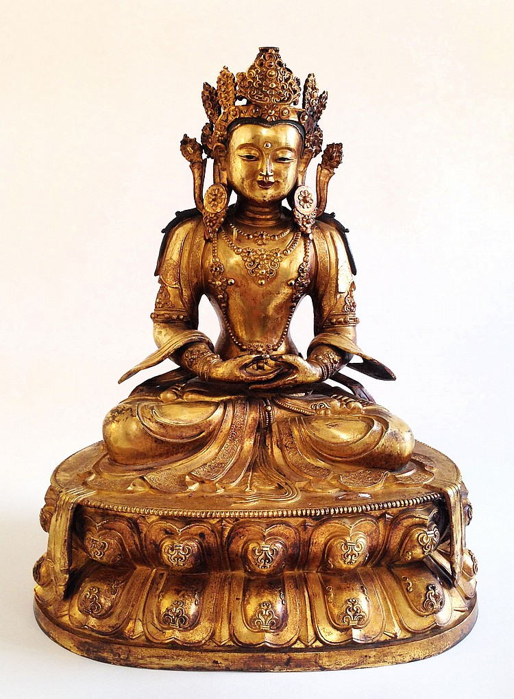 A Fine Gilt-Bronze Figure of Amities Qing Dynasty Kangxi Period