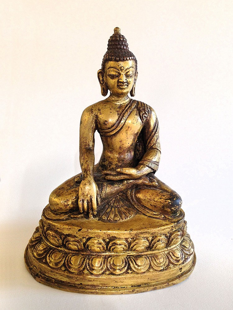 A Rare Gilt-Bronze Figure of Sayamuni 18th Century