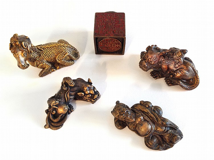 A Group of Five Gilt Bronze Qing Dynasty