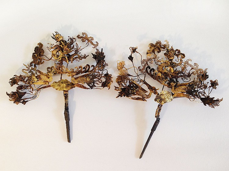 A Pair of Imperial Gold Dragon and Phoenix Hair Pins 18th Century
