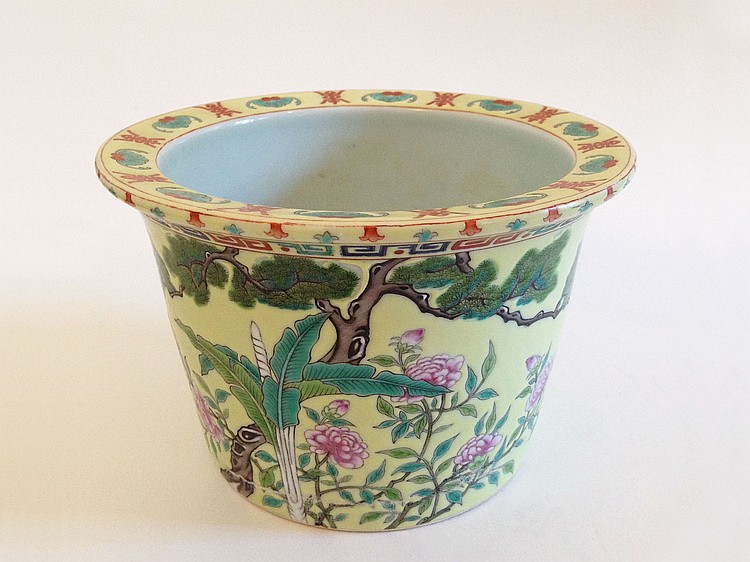 A 'Famille Rose' Plant Pot Tihedenzhi 19/20th Century