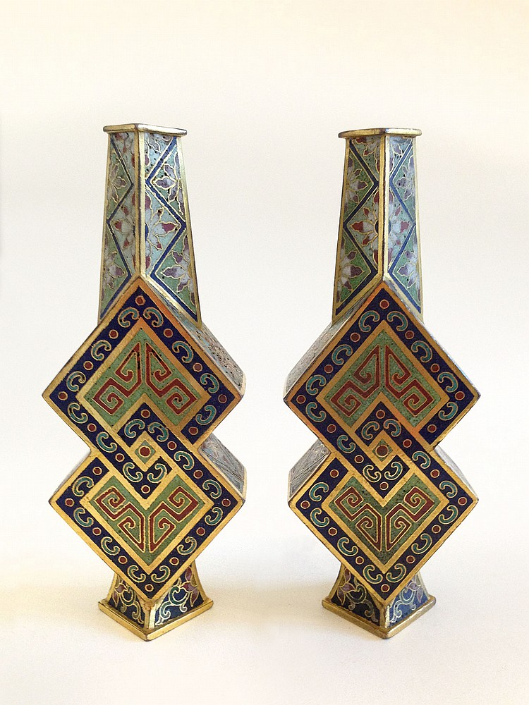 A Pair of Cloisonne Enamel Vases Qianlong mark of the period