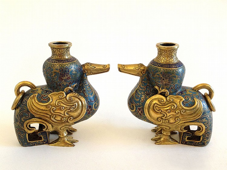 A Pair of Cloisonne Enamel Birds 18th Century