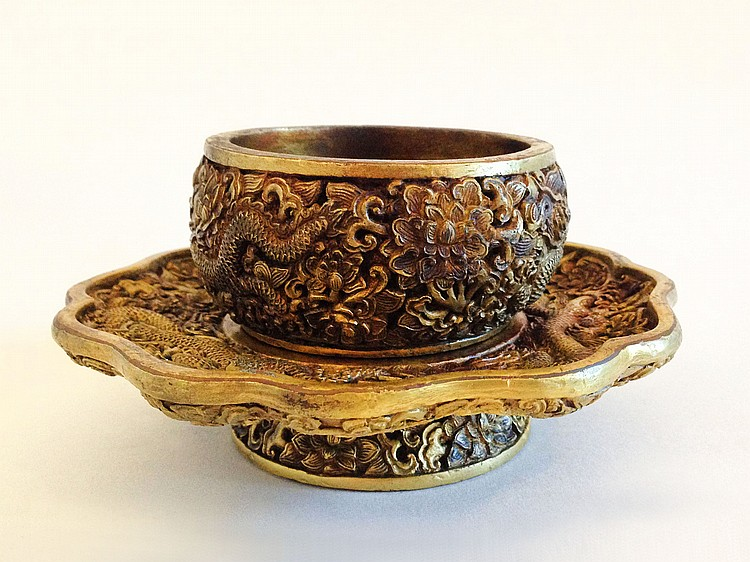 A Gilt Bronze Cup and Stand Qianlong mark of the period