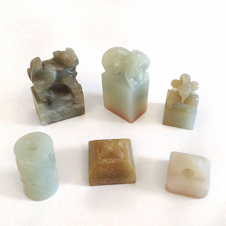 A Group of Six Jade Seals 19/20th Century