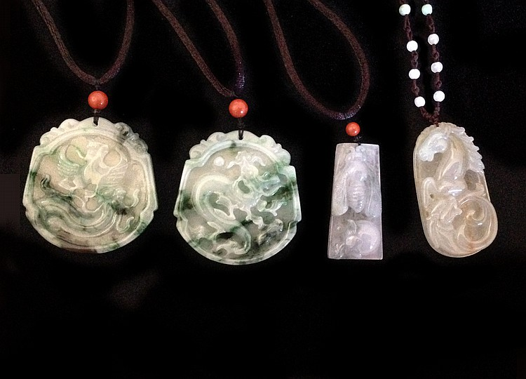 A Group of Four Jadeite Pendant 20th Century