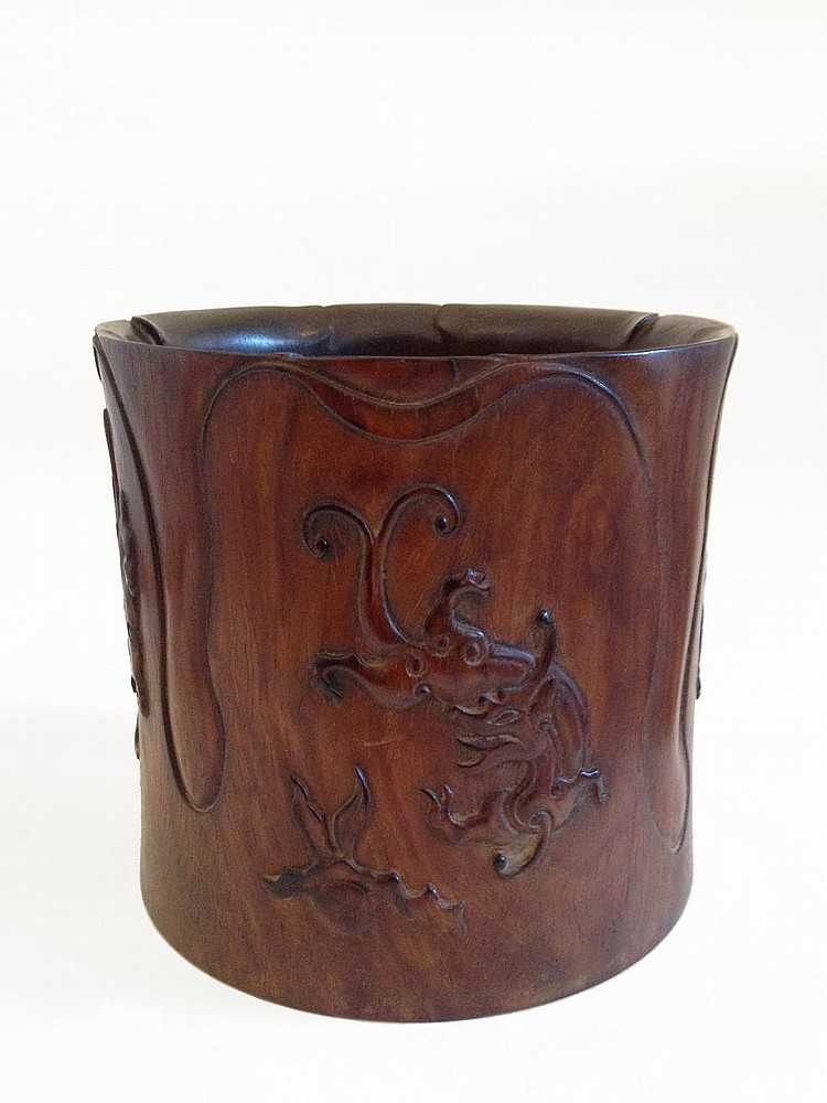 A Large Huang Hua Li Brush Pot 19/20th Century
