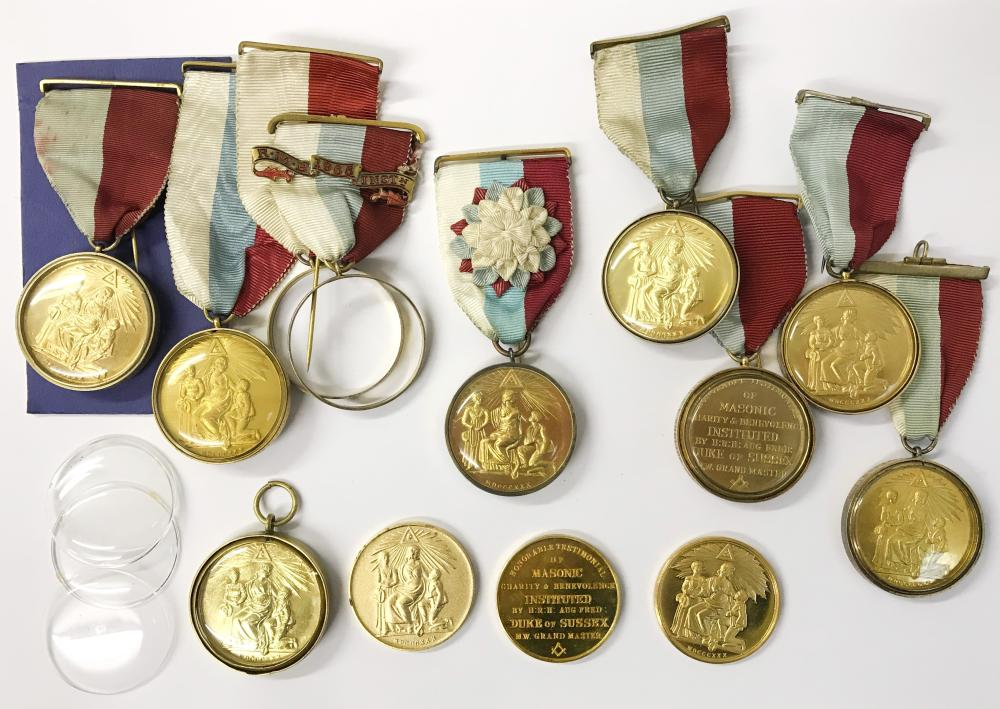COLLECTION OF TEN MASONIC CHARITY MEDALS WITH HALLMARKED SIL