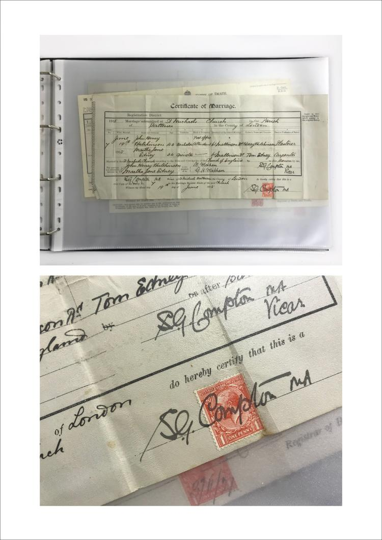 Folder Of Birth Wedding And Death Certificates