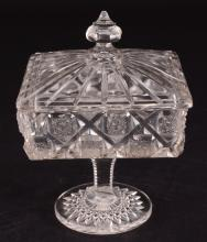 Old Quilt Clear Glass Footed Candy Dish w/Lid