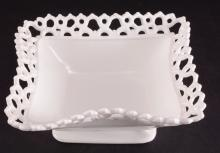 Milk Glass Crocheted Edge Rectangular Footed Bowl