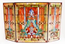 Victorian Style Stained Glass Fireplace Screen