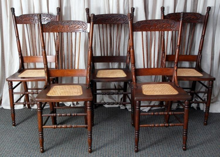 Pressed Back Dining Chairs ~ Pressed back cane seat side dining chairs