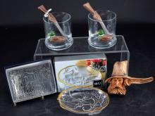 Duck Glasses w/Rifle Stirrers W August Pewter Dish