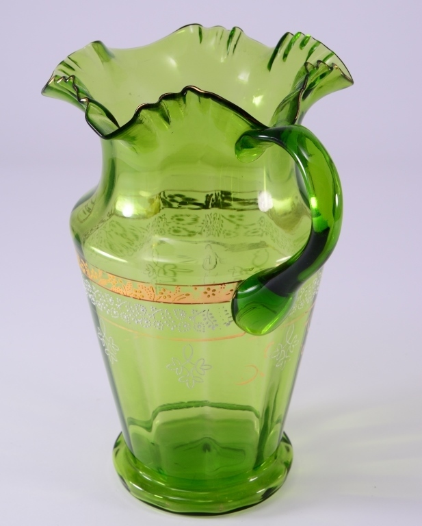 Vintage Blown Ruffled Edge Green Pitcher