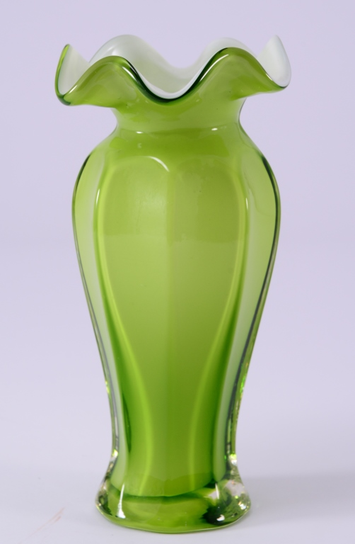 Green Cased Glass Vase