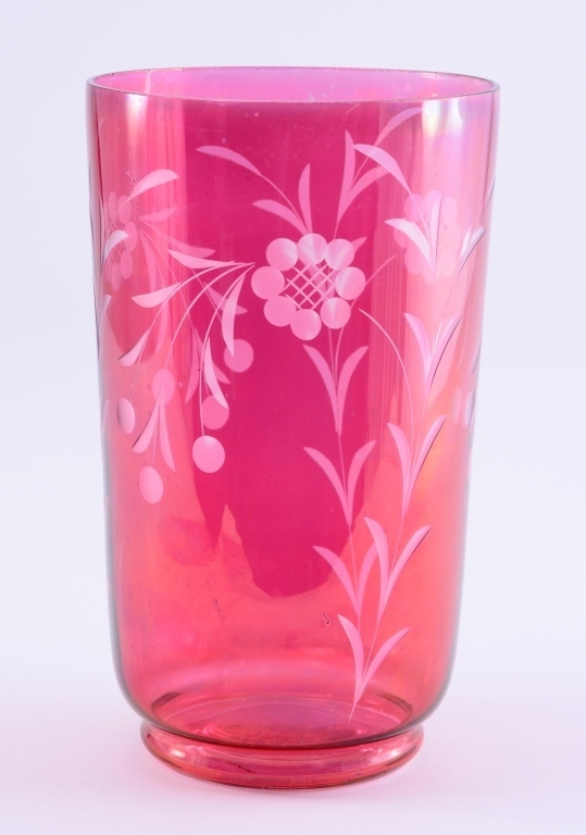 Etched and Flashed Cranberry Vase