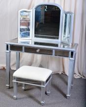 Mirrored Vanity w/Bench & Tri-Fold Mirror