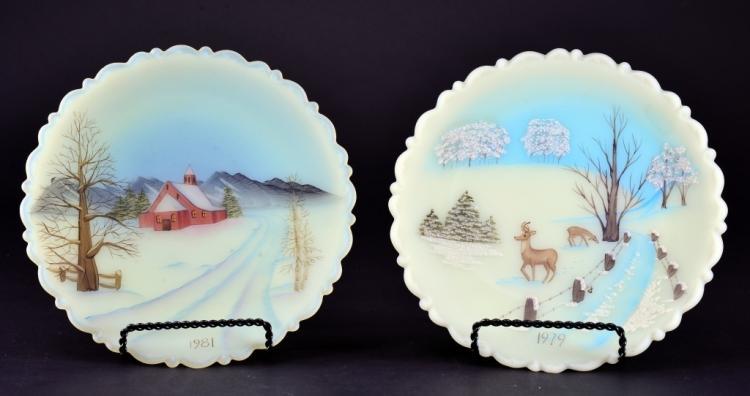 Pair Fenton Custard Glass Plates