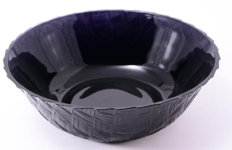 Purple Glass Basket Weave Bowl
