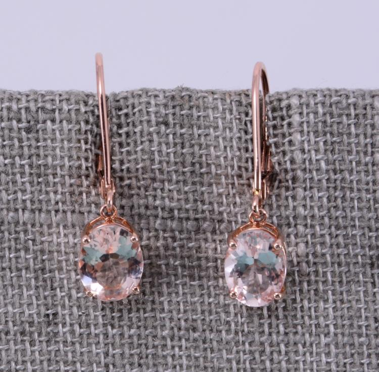 10K Morganite Drop Earrings