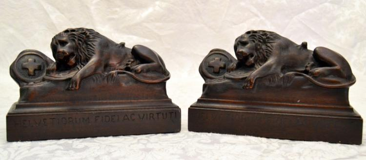 Carved Solid Mahogany Lion Bookends