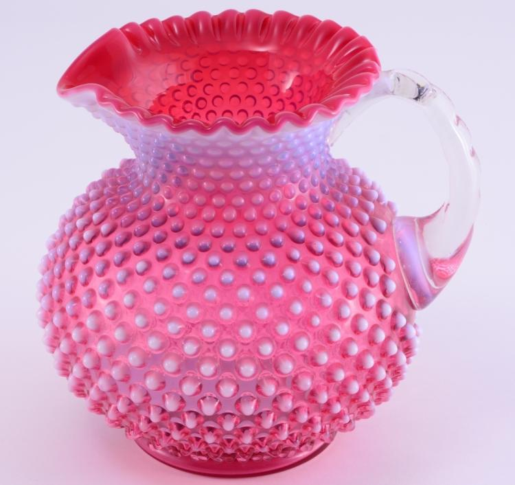 Cranberry Opalescent Hobnail Ball Pitcher